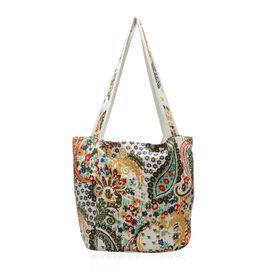 100% Cotton Kantha Embroidered Paisley Pattern Hand Bag with Zip Closure (Size 33x16x36 Cm) - Multic