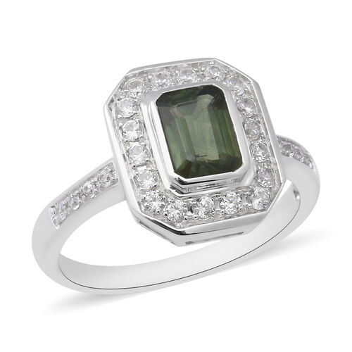 Green Sapphire and Natural Cambodian Zircon Ring in Rhodium Overlay Sterling Silver 1.93 Ct.