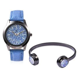 2 Piece Set - STRADA Japanese Movement Water Resistant Simulated Blue AB Crystal Watch and Cuff Bang
