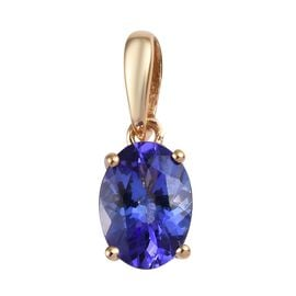 ILIANA 18K Yellow Gold AAA Tanzanite (Ovl) Solitaire Pendant 1.00 Ct.