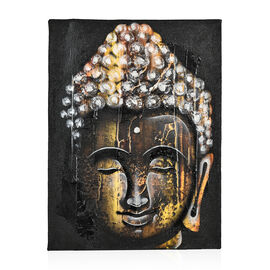 Balinese - Buddha Canvas Hand Painted Oil Painting (Size 40x30 Cm) - Yellow