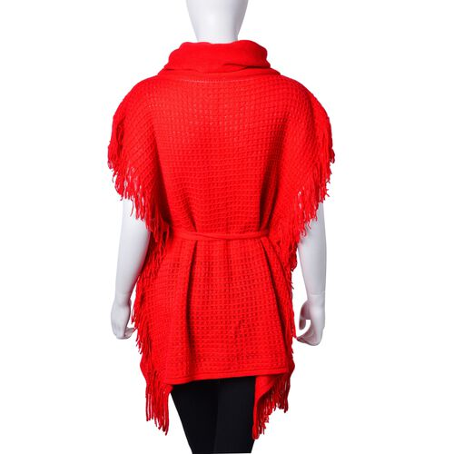 Red Colour Poncho with Waistband (Size 65X55 Cm)