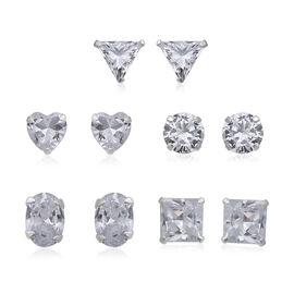 ELANZA Set Of 5 Simulated Diamond Stud Earrings (with Push Back) in Sterling Silver
