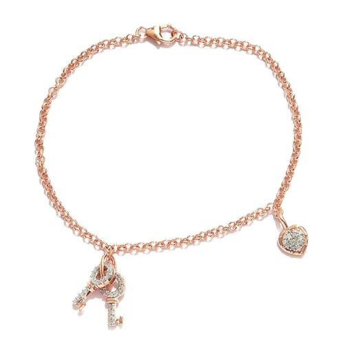 Diamond 0.25 Ct Heart and Key Charm Silver Bracelet in Rose Gold Overlay (Size 7.5)