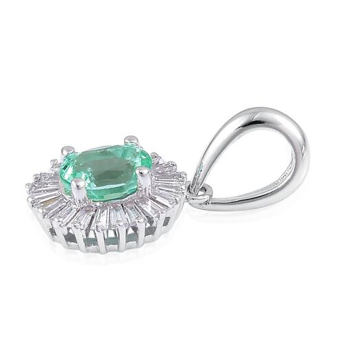 ILIANA 0.55 Ct AAA Boyaca Colombian Emerald and Diamond (SI/G-H) Halo Pendant in 18K White Gold