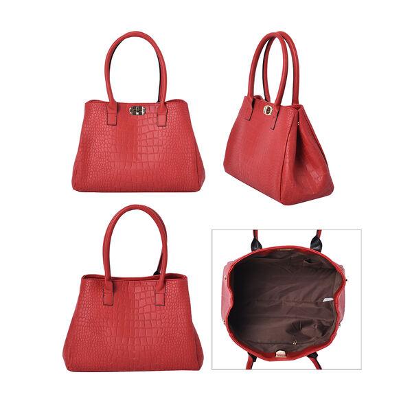 Set of 3 - Crocodile Skin Pattern Tote Bag (34x26x13.5cm), Satchel Bag with Detachable Shoulder Strap (30x21x13cm) and Crossbody Bag with Metallic Chain Strap (24x16cm) - Grey