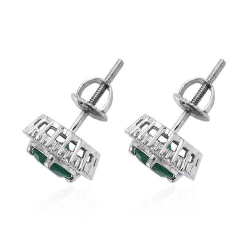 RHAPSODY 950P Platinum AAAA Kagem Zambian Emerald (Rnd 1.50 Ct.) Diamond (Bgt 0.50 Ct. - VS/E-F) Earrings (with Screw Back) 2.000 Ct.
