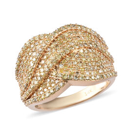 14K Yellow Gold Yellow Diamond Cluster Ring 1.50 Ct, Gold wt. 8.2 Gms