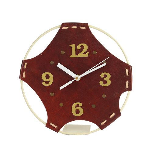 Handcrafted Round Leather Table Clock (Size 20.9x20.9 Cm)