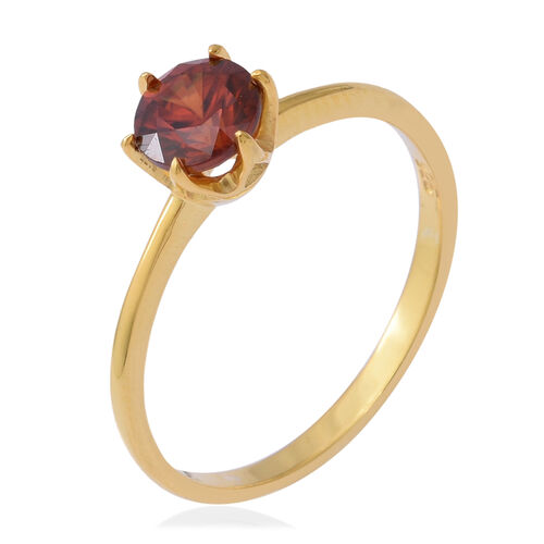 AAA Red Zircon (Rnd) Solitaire Ring in Yellow Gold Overlay Sterling Silver 1.32 Ct.