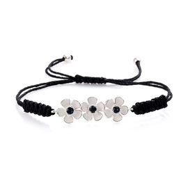 J Francis Montana Crystal from Swarovski Floral Adjustable Bracelet in Silver 6.5 to 9 Inch