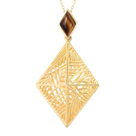 Isa Bella Liu - Sea Rhyme Collection - Tigers Eye Pendant With Chain (Size 30) in Yellow Gold Overla