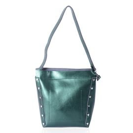 Close Out Deal 100% Genuine Leather Emerald Green Metallic Colour Shoulder Bag (Size 30x28x21x12 Cm)