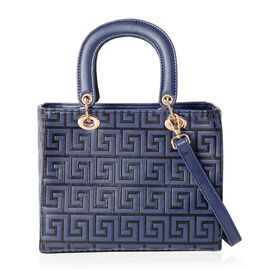 Close Out Deal Navy Blue Greek Key Embossed Tote Bag with Removable Shoulder Strap (Size 25x20.5x12.