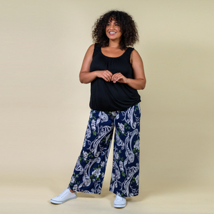 TAMSY Miss Collection Floral Printed Trousers (M/L,10-18) - Navy