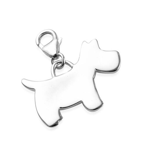 Platinum Overlay Sterling Silver Scottish Terrier Dog Charm, Silver wt 3.25 Gms