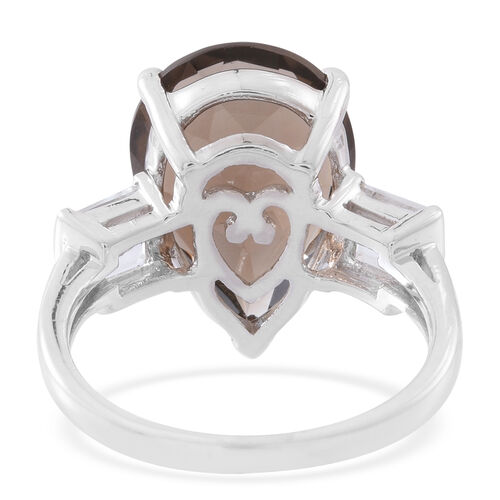 Brazilian Smoky Quartz (Pear 9.85 Ct), White Topaz Ring in Rhodium Plated Sterling Silver 10.750 Ct. Silver wt 5.08 Gms.