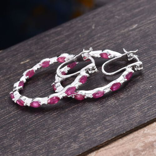 African Ruby (Mrq) Hoop Earrings (with Clasp) in Sterling Silver 2.25 Ct.