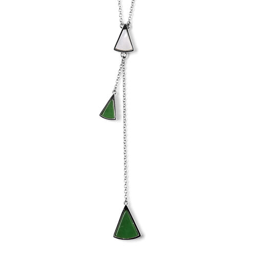 Isabella Liu Dance of Ginkgo - Green Jade and White Mother of Pearl Lariat Necklace (Size 26) in Rhodium Overlay Sterling Silver
