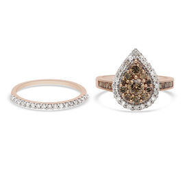 Set of 2 - 9K Rose Gold SGL Certified Champagne (1.00 Cts) and White Diamond (0.50 Cts) ( I3/G-H) Ri