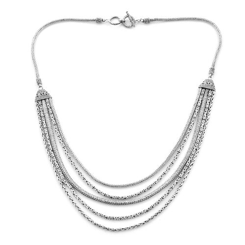 Royal Bali Tulang Naga and Borobudur and Padian Multi Strand Necklace in Sterling Silver 22 Inch