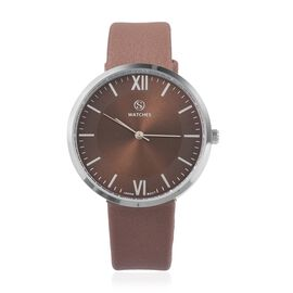 STRADA Japanese Movement Water Resistant Brown Colour Sunshine Dial Watch with Brown Strap