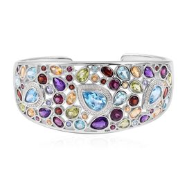 Tanzanite (Rnd), Multi Gemstone Bangle (Size 7) in Rhodium Overlay Sterling Silver 25.110 Ct, Silver wt 30.00 Gms