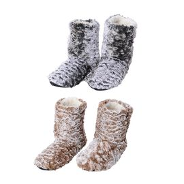 2 Piece Set - Faux Fur Sherpa Lined Home Booties (Size 25x18 Cm) - Brown and Grey
