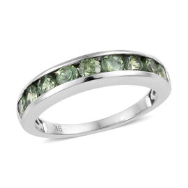 1.25 Ct AA Russian Demantoid Garnet Half Eternity Band Ring in 9K White Gold 2.46 Grams