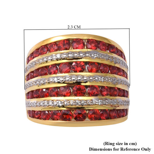 Red Sapphire (Rnd) and Natural Cambodian Zircon Ring in 14K Gold and Platinum Overlay Sterling Silver 3.54 Ct.