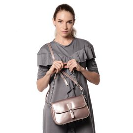 HONG KONG CLOSE OUT DEAL- 100% Genuine Leather Pink Metallic Colour Crossbody Bag with External Zipp