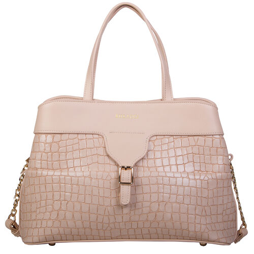 Bulaggi Collection - GINGER Crocodile Skin Textured Handbag with Buckle and Shoulder Starp (31x22x14