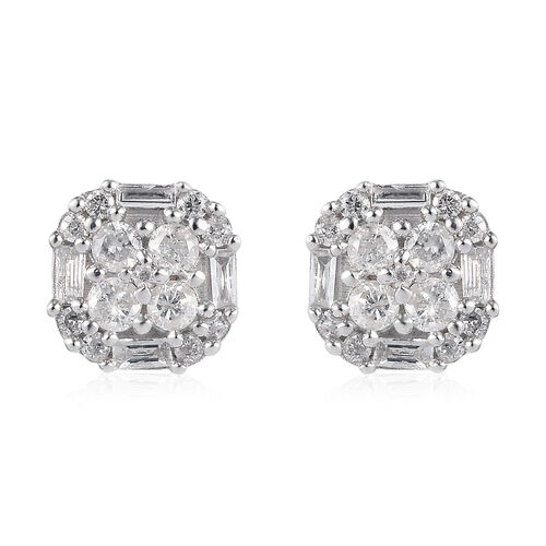 9K W Gold SGL Certified Natural Diamond (I3/G-H) Stud Earrings (with Push Back) 0.50 Ct.