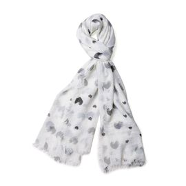 White, Black and Grey Colour Heart Pattern Scarf (Size 180x90 Cm)