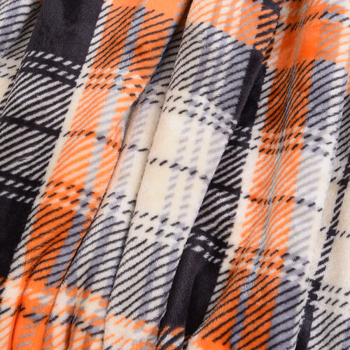 Check Pattern Flannel Sherpa Blanket (Size 190x150cm) - Orange, Beige and Black