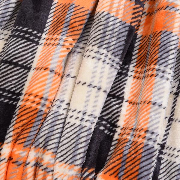 Check Pattern Flannel Sherpa Blanket (Size 200x150cm) - Orange, Beige and Black