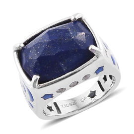 GP Lapis Lazuli (Cush 16x12 mm), Natural Cambodian Zircon and Kanchanaburi Blue Sapphire Ring in Pla