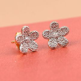 Diamond Flower Stud Earrings (with Push Back) in 14K Gold Overlay Sterling Silver