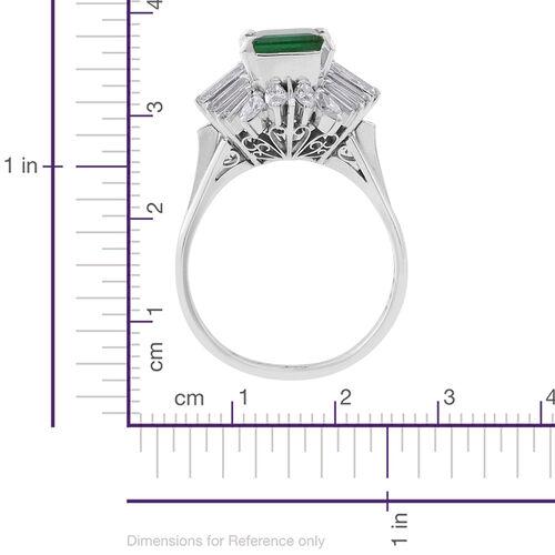 Signature Collection - 900 Platinum AAAA Boyaca Colombian Emerald (Oct 1.60 Ct), Diamond (SI to I1 G-H) Ring 3.150 Ct.Platinum Wt 7.85 Gm