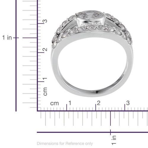 J Francis - Platinum Overlay Sterling Silver (Rnd) Ring Made With SWAROVSKI ZIRCONIA 2.600 Ct.