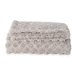 Supersoft Fine Micro- Light Grey Colour Mink Blanket with Matching Colour Sherpa BACKING and Ultraso