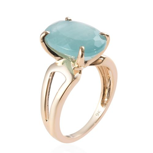 9K Yellow Gold Extremely Rare Size Grandidierite (Ovl 14x10mm) Solitaire Ring 6.00 Ct.