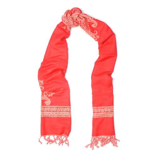 Jacquard Pattern Beige and Red Colour Scarf (Size 70x200 Cm)