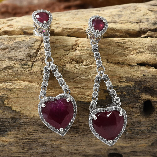 African Ruby (Hrt),Natural Cambodian Zircon Earrings in Platinum Overlay Sterling Silver 11.500 Ct, Silver wt 6.61 Gms.