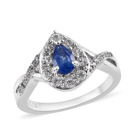 Burmese Blue Sapphire and Natural White Cambodian Zircon Bypass Ring (Size N) in Platinum Overlay Sterling Si