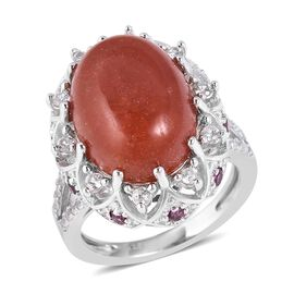 12.52 Ct Red Jade and Multi Gemstone Halo Design Ring in Rhodium Plated Sterling Silver 6.06 Grams