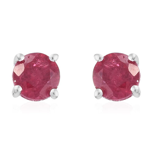 African Ruby (Rnd) Solitaire Pendant and Stud Earrings (with Push Back) Set in Sterling Silver