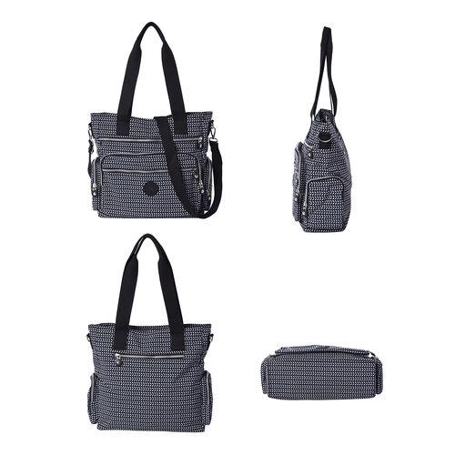 Multi-Pocket Leaf Pattern Satchel Bag with Detachable Shoulder Strap (36x15x33cm) - Navy