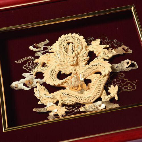 Home Decor - 24K Gold Plated Dragon Wooden Frame (Size 27x34 Cm)