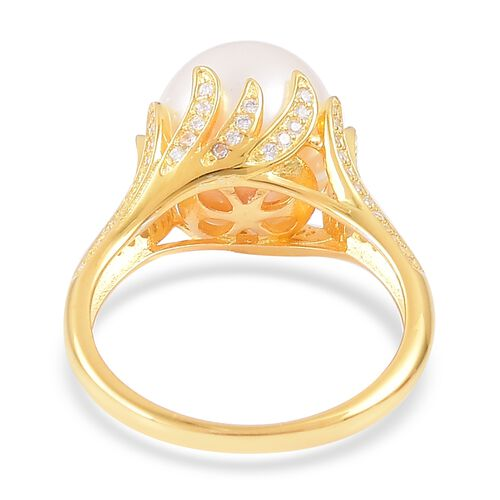 South Sea White Pearl (Rnd 11.5-12 mm), White Zircon Ring in Yellow Gold Overlay Sterling Silver